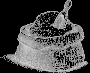 Silueta en blanco y negro de sal fina y seca